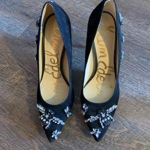 San Edelman black stone heels